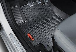 Floor mats, rubber, red logo