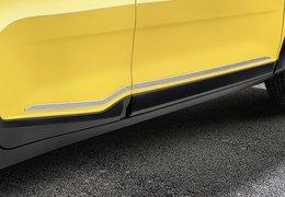 Side door trim lines, stainless steel brushed