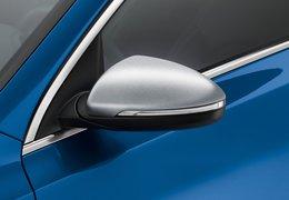 Door mirror caps, stainless steel brushed